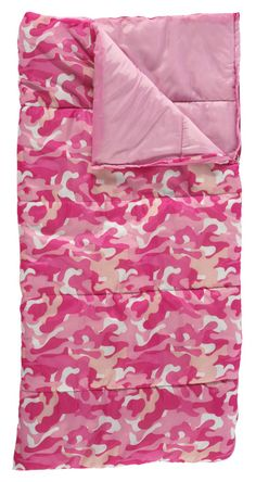 Bass Pro Shops® Kids Camo Camping Sleeping Bag - Pink Camo | Bass Pro Shops // Your little camper will love using this bag on warm weather camping trips, backyard camping adventures, in their own room, or for movie nights in the family room! #kidssleepingbag #camping #getoutside #pinkcamo