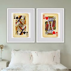 King and Queen Playing Cards - framed dark for the game room or basement area.