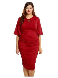 Red New Women Casual V-Neck Short Flare Sleeve Solid Plus Size Pleated with Belts Going Out Dresses