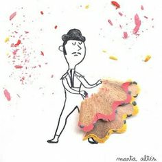 Imaginative and playful illustrations created from recycled pencil shavings. By Marta Altes.