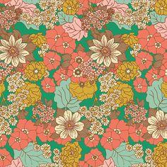 Bungalow RAYON CHALLIS by Joel Dewberry for Free Spirit Fabrics - Dainty Daisies (Emerald) - Half Yard