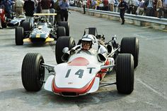 Monza, Italy — Honda driver John Surtees prepares for the 1968 Italian Grand Prix in Monza. — Image by © Schlegelmilch/Corbis