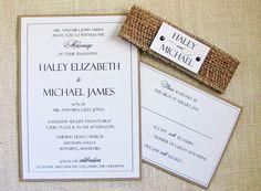Modern Wedding Invitation Rustic Burlap wedding by LoveofCreating