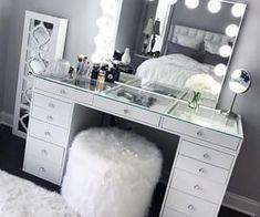 SlayStation® Pro Tabletop + Vanity Mirror + 5 Drawer Units Bundle - Impressions Vanity Co. - SlayStation® Pro Tabletop + Vanity Mirror + 5 Drawer Units Bundle – Impressions Vanity Co. Cute Bedroom Ideas, Cute Room Decor, Teen Room Decor, Room Ideas Bedroom, Dream Bedroom, Bedroom Black, Silver Bedroom Decor, Beauty Room Decor, Diy Bedroom