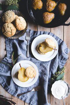 Vanilla Bean Shortcakes with Spiced Pears & Cardamom Crème Fraîche   lark & linen