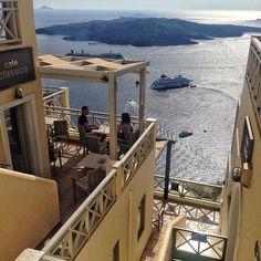 santorini | fira | cafe classico Mykonos, Santorini, Greek Isles, Islands, Loft, Blue And White, Instagram Posts, Home Decor, Decoration Home