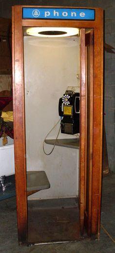 Image detail for -Vintage Wood Telephone Booth with Seat Telephone Booth, Vintage Telephone, Antique Phone, Kitsch, Poem A Day, Vintage Phones, Old Phone, The Good Old Days, Vintage Wood