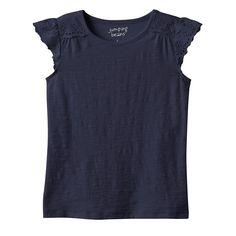 Girls 4-10 Jumping Beans® Eyelet Flutter Tee, Girl's, Size: 6, Blue