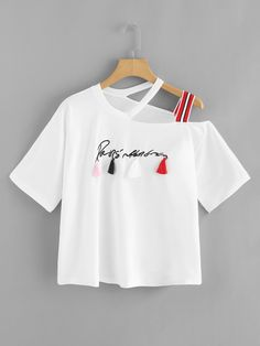 Casual Embroidery and Fringe Letter Regular Fit Asymmetrical Neck Short Sleeve White Regular Length Letter Embroidered Asymmetric Shoulder Fringe Patched T-shirt Teen Fashion Outfits, Trendy Outfits, Girl Fashion, Girl Outfits, Womens Fashion, Fashion Trends, Jugend Mode Outfits, Mode Streetwear, Crop Top Outfits
