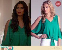 Carmen's green split sleeve blouse on Devious Maids.  Outfit Details: http://wornontv.net/34834/ #DeviousMaids