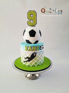 Portiere Soccer Cake - The Quirky Cake Society - luka geburtstag - Football Birthday Cake, Soccer Birthday Parties, Soccer Party, 9th Birthday, Sport Cakes, Soccer Cakes, Soccer Ball Cake, Boy Cakes, Soccer Theme