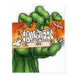 Happy Halloween Sign Monster Zombie Hand Postcard #halloween #happyhalloween #halloweenparty #halloweenmakeup #halloweencostume