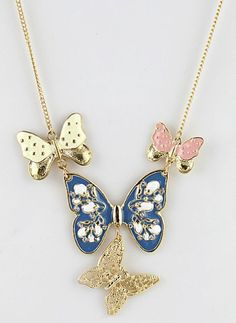 Gold Hollow Butterflies Necklace. want this!