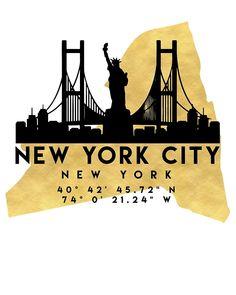 NEW YORK CITY NEW YORK SILHOUETTE SKYLINE MAP ART von deificusArt