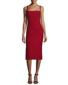 Ela+Ponte+Sleeveless+Midi+Sheath+Dress,+Red+by+cinq+a+sept+at+Neiman+Marcus.