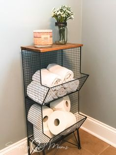 Storage ideas for small bathrooms and spaces. storage Finding Small Bathroom Storage at Home Goods Small Bathroom Storage, Diy Bathroom Decor, Bathroom Organization, Small Storage, Simple Bathroom, Storage Boxes, Bathroom Designs, Budget Bathroom, Bathroom Styling