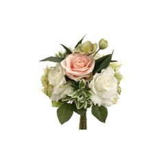 """11.5"""" Silk Rose and Hydrangea Wedding Bouquet in Peach & Green 