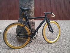 Gold rims and black frame fixie