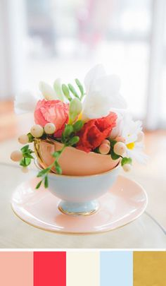 Palate: A table setting light and fresh with a pop of color - Peach, Coral Red, Cream, Placid Blue, & Gold