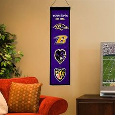 Baltimore Ravens Vertical Wool Heritage Banner - Purple/Black