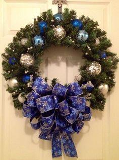 Blue Christmas Swag Wreath Blue and silver door by LisasLaurels ...