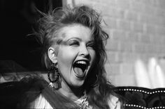 "This photo of Cyndi Lauper was taken in 1984 by Janet Macoska, the house photographer at the Rock and Roll Hall of Fame and Museum. Macoska spoke earlier this week at the Durham Museum as part of the museum's ""Women Who Rock"" exhibit.............rockcandy.omaha.com..............cyndi Lauper  -1984"