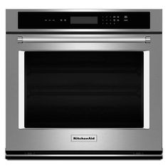 KitchenAid 30 in. Single Electric Wall Oven Self-Cleaning in Stainless Steel-KOST100ESS - The Home Depot