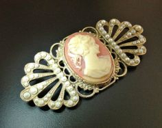 Art Deco Brooch Cameo Vintage Celluloid Seed Pearls