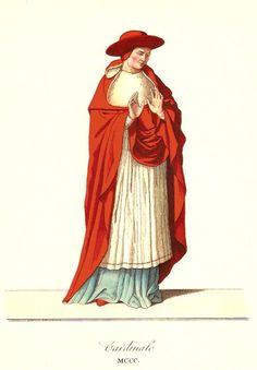 Innocenzo IV, nel concilio tenuto a Lione la vigilia di natale 1244, diede ai cardinali il cappello rosso, . il concilio di Lione è il primo in cui i cardinali sedettero in più eminente posto di quello degli arcivescovi e dei vescovi. Bonifacio VIII dopo l'anno 1300, accordò loro il mantello scarlatto. Il presente costume è copiato da un prezioso quadro di Ambrogio Lorenzetti, conservato nell' accademia di Belle Arti a Siena.