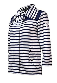 Lauren Ralph Lauren Active Womens French Terry Stripe Jacket XS WhiteNavy -- See this great product.