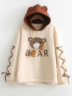 Shop Bear Print Lace Up Contrast Hoodie online. ROMWE offers Bear Print Lace Up Contrast Hoodie & more to fit your fashionable needs. Kawaii Clothes, Kawaii Fashion, Cute Fashion, Fashion Art, Fashion Graphic, Fashion Quotes, Fashion Black, Fast Fashion, Emo Fashion