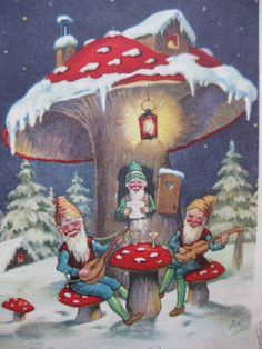 Gnomes and mushrooms in the snow