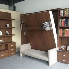 Space saving furniture for small living room folding wall bed murphy bed with sofa bed ideas Murphy Bed With Sofa, Build A Murphy Bed, Modern Murphy Beds, Murphy Bed Plans, Cama Tatami, Small Rooms, Small Spaces, Murphy-bett Ikea, Diy Bett