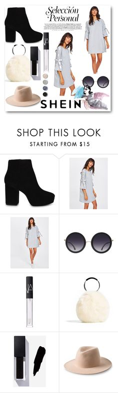 """SheIn contest - Ribbon Lace Up Raglan Sleeve Marled Tee Dress"" by bevymonique ❤ liked on Polyvore featuring ALDO, Alice + Olivia, NARS Cosmetics and Terre Mère"