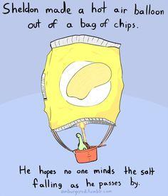 Sheldon in a hot air balloon.