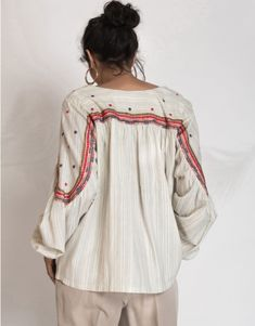 Handloom yarn dyed cotton blouse in broken stripes with hand embroidery highlight at sleeves and at back yoke. Hand Embroidery Dress, The Office Shirts, 3d Hand, Cotton Blouses, Get The Look, Different Styles, Tunics, Highlight, Applique