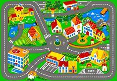 Associated Weavers – Alfombra infantil para jugar (95 x 133 cm), diseño de ciudad con carreteras | Hogarycocina.es