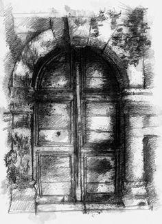 Artist Sean Briggs producing a sketch a day Old church door #art #door #drawing #http://etsy.me/1rARc0J #sketch