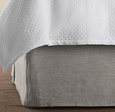 Vintage-Washed Belgian Linen Bed Skirt. Restoration Hardware - queen bed downstairs?