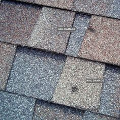 Hail Damage When a large hailstone hits an asphalt shingle, it can tear or even puncture the shingle. But usually, it just knocks granules off the surface. When a shingle loses its protective layer of granules, UV rays from the sun begin to destroy it. More granules fall off around the damaged spot and the bruise grows. The damage may not be obvious at first, so if you suspect hail damage, get an inspection from a roofing contractor. Most offer free hail damage inspections.
