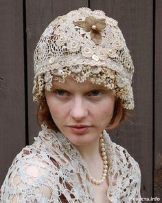 Upcycled vintage lace hat upcycled-vintage-linens-clothing-accessories I see buttons. Vintage Upcycling, Upcycled Vintage, Sombrero A Crochet, Fru Fru, Look Boho, Altered Couture, Love Hat, Linens And Lace, Look Vintage