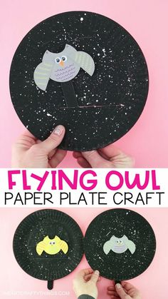 Flying Owl Craft -Fun interactive Fall Paper Plate Craft for Kids! This fun make and play flying owl craft makes a great fall kids craft. Kids will love watching their owl puppet fly around the starry night painted paper plate sky. Paper Plate Crafts For Kids, Paper Crafting, Craft Kids, Craft Art, Bat Craft, Kids Diy, Craft With Paper, Toddler Paper Crafts, Summer Crafts For Preschoolers