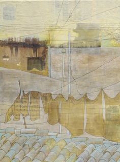 Fine Art Print of Original Mixed-Media Encaustic Painting- Laundry on Lines: always remember this place