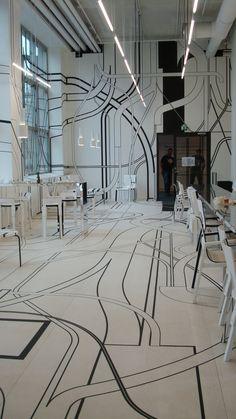 Logomo cafe, turku Interior Architecture, Interior Design, Office Walls, Painted Floors, Pent House, Cafe Restaurant, Floor Design, Commercial Interiors, Dream Vacation Spots