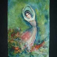 art painting aceo SFA watercolour dancing lady 137 £4.00