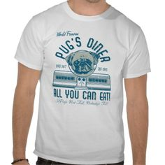 Vintage Retro 50s Style Pug's Diner T-shirt Design - comes in many styles and colours, both men's and lady's / women's (t-shirts, tee, tees, t shirt, tshirt, creative, cool, graphic, text, style, retro, American)