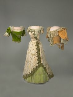 """Frances Cleveland's Skirt and Bodices """"The original floral chine skirt and peach velvet bodice were probably made around 1895 by the House of Doucet of Paris. The floral bodice was created later from fabric taken out of the skirt. Baltimore dressmaker Lottie M. Barton made the green velvet bodice."""""""
