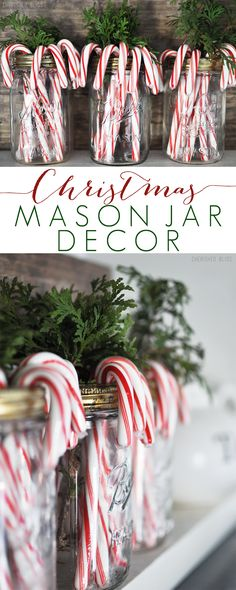 Simple and beautiful. Christmas Mason Jar Decor is such an easy way to bring a little holiday cheer into your home!