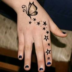 Mehndi Star Tattoo Designs For Girls