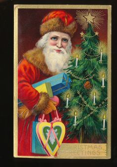 Old World Santa Claus with Tree Gifts Antique Embossed Christmas postcard-hhh593